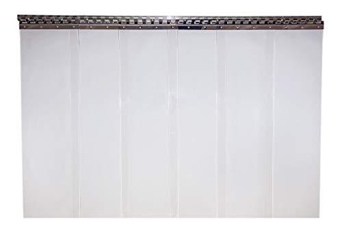 PVC Streifenvorhang Lamellen 20cm (2x200mm) - Verschiedene Größen (Breite: 1,00m (6 Streifen), Höhe: 2,00m)