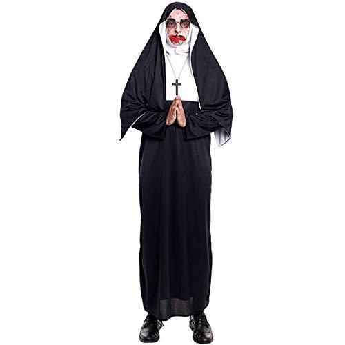 H HANSEL HOME Disfraz Monja Maldita Adulto - Mujer - Incluye Túnica + Cofia + Collar con Cruz Cosplay/Carnaval/Halloween Size M