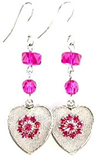 Hot Pink Vintage Style Hearts Swarvoski Artisan USA Made Gift Boxed