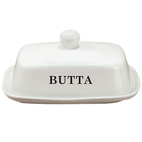 Butter Dish | Funny White Ceramic Butter Dish with Lid | LARGE - Fits Block of Butter or 2 Sticks