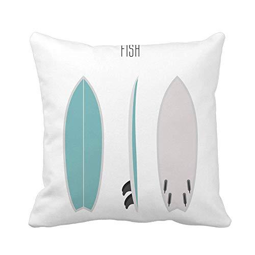 N\A Throw Pillow Cover Surf Fish Board Tres Lados Proyecciones en Blanco Tipos de Tablas de Surf Funda de Almohada Funda de Almohada Cuadrada Decorativa para el hogar Funda de cojín