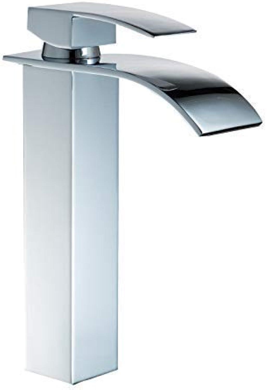 Hjbds moderne becken wasserhahn, messing becken wasserhahn in der wand wasserfall glas heien und kalten wasserhahn waschbecken wasserhahn deck insGrößetion (farbe  wei)