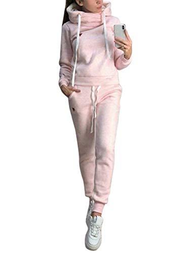 ORANDESIGNE Femmes Automne Hiver Manches Longues Capuche Sweatshirts Jogging Pantalons 2 Pièce Ensemble Survêtement A Rose 42