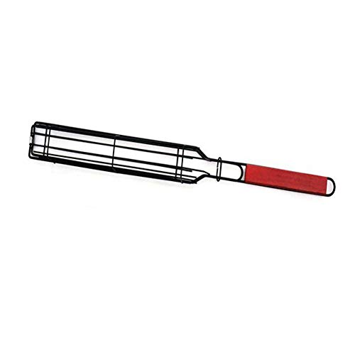 Barbecue Grilling Basket Grill BBQ Net Wooden Handle Sausage Grill Basket (Red 48 * 6cm)
