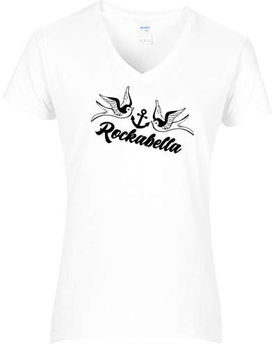 BlingelingShirts Shirt Damen Rockabilly Schwalben mit Anker Rockabella Schriftzug, T-Shirt, Grösse XL, Weiss