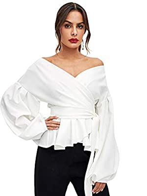 SheIn Women's Long Sleeve V Neck Ruffle Blouse Off Shoulder Tie Waist Wrap Tops Large White