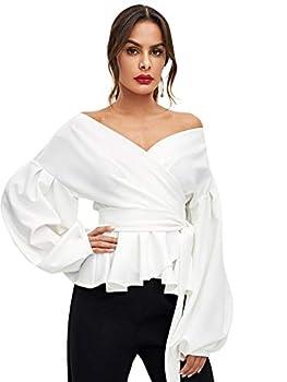 SheIn Women s Long Sleeve V Neck Ruffle Blouse Off Shoulder Tie Waist Wrap Tops X-Large White