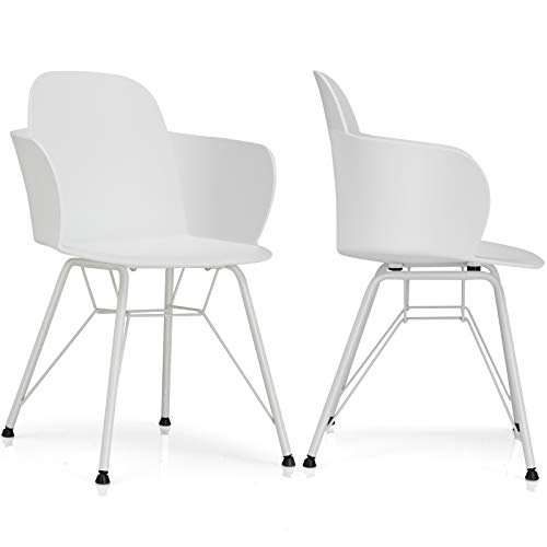 Giantex Set of 2 Dining Chairs, Pre Assembled Modern Style Plastic Dining Chair w/Metal Legs, Ergonomic Backrest, Armrest, Classic Petal Shape Cozy Leisure Chair for Kitchen, Dining Room, White