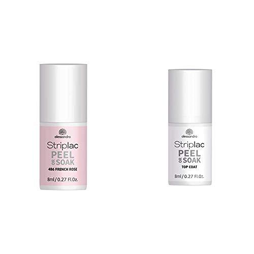 alessandro Striplac Peel or Soak French Rosé – LED-Nagellack in zartem Rosé – 1 x 8ml & Striplac Peel or Soak Top Coat – LED-Überlack für eine perfekt glänzende Farblackierung – 1 x 8ml