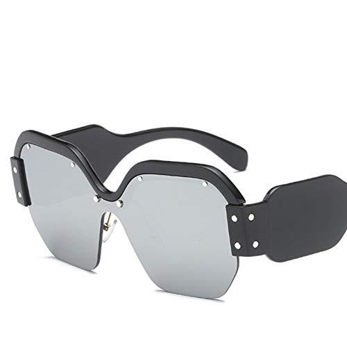Liuao Sonnenbrillen der neuen Frauen entwerfen großen Rahmen reizvolle randlose Frauen-Sonnenbrille-Spiegel,Black Quicksilver