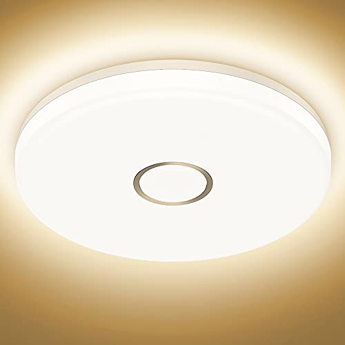 Onforu 18W LED Deckenleuchte IP54 Wasserdicht Badlampe 1600lm 2700K Warmweiß Deckenlampe Badleuchte LED Decke Lampe für Badezimmer Flur Küche Wohnzimmer Balkon, Badezimmerlampe Ø 24cm