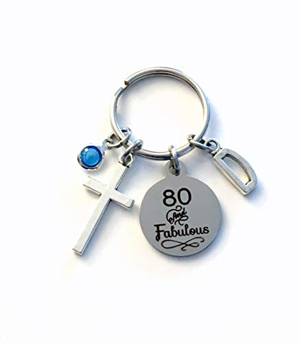 80th Birthday Gift for Women, 80 and Fabulous Keychain, Wife, Sister, Best...