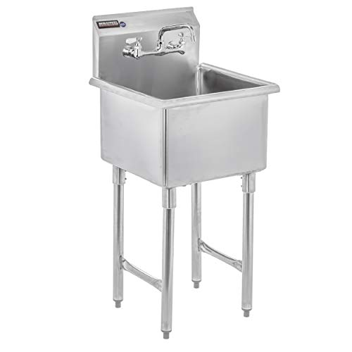 """DuraSteel Utility & Prep Sink - 1 Compartment Stainless Steel NSF Certified Easily Install - 18"""" X 18"""" Tub Size with 8"""" Swivel Spout No Lead Faucet (Commercial, Food, Kitchen, Laundry, Backyard)"""