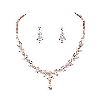 WeimanJewelry Silver/Gold Plated Women Cubic Zirconia Round CZ Marquise Teardrop Bridal Necklace and Drop Earring set for Bride Wedding  Rose Gold