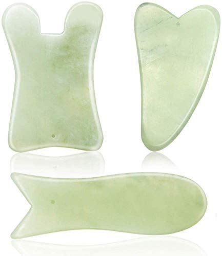 SAYOPIN Natural Gua Sha Board Guasha Scraping Massage Tool Set of 3 SPA Salon Acupuncture Skin Facial Care Treatment Therapy Trigger Point Treatment Lifting Your Face and Iymphatic Drainage(Green)