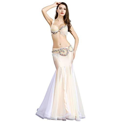 ROYAL SMEELA biustonosz do tańca brzucha pasek i spódnica kostium taneczny kostium wykwintny perłowy frędzle biustonosz pasek szyfon spódnice syrenki taniec sukienka dla kobiet profesjonalne wykonanie ubrania