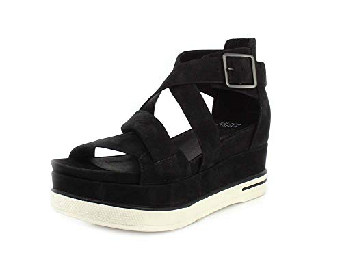 Eileen Fisher Womens Boost Washed Leather Platform Black Tumbled Nubuck Sandal - 9.5