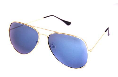 Foxxeo verspiegelte Pilotenbrille Karneval Party Brille Pilot Gold hellblau Sonnenbrille