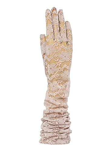 SANTACANA MADRID - Guante de encaje elástico extralargo para bodas y ceremonias (Beige)