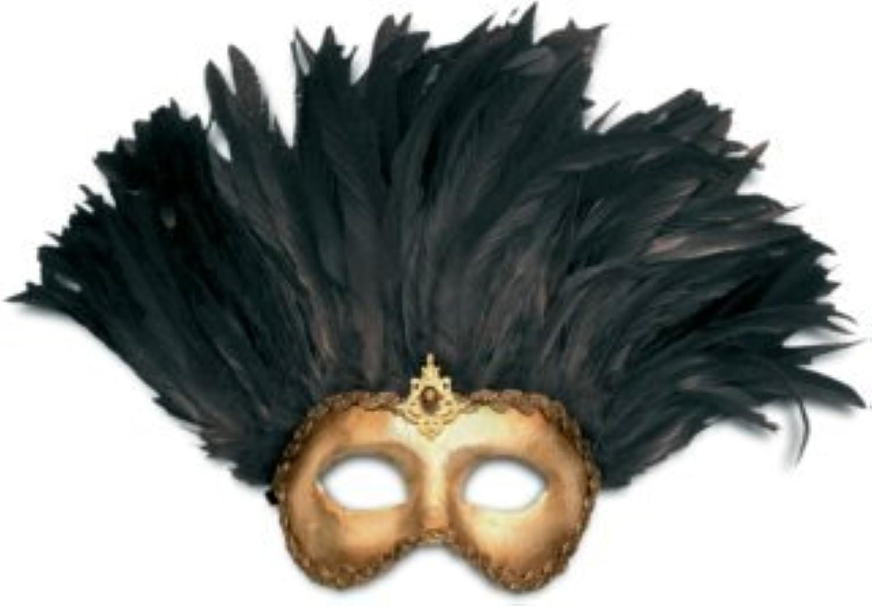 Karneval - Halloween - venezianische Maske - Incas Colombina Gold con piume nere