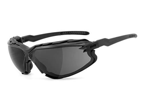 HELLY® - No.1 Bikereyes® | Bikerbrille, Chopperbrille, Motorrad-Sonnenbrille, Motorradbrille | beschlagfrei, winddicht, bruchsicher, Polster abnehmbar | TOP Tragegefühl | Brille: darkrider