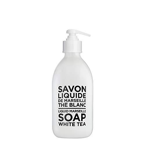 Compagnie de Provence Savon de Marseille Liquid Soap - White Tea - 10 Fl Oz Glass Pump Bottle
