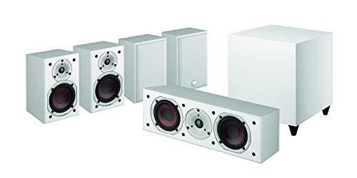 Dali Spektor 2 Heimkinoset Weiß (5.1 Set, 6-teilig, 2-Wege System, 25-100 Watt Belastbarkeit, 33 Hz-26 kHz Frequenzbereich, 170 Watt aktiver Subwoofer)