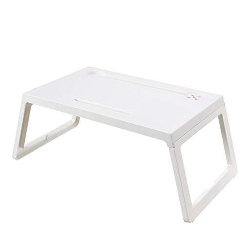 Foldable Desk Lazy Laptop Table with Drawer, Cup Holder and Pen Holder, Breakfast Table Writing Workstation Multipurpose,with Invisible Small Drawer,cup Opening and Pen Hole Design