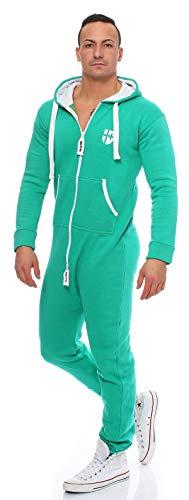 Gennadi Hoppe Herren Jumpsuit Onesie Jogger Einteiler Overall Jogging Anzug Trainingsanzug Slim Fit,grün,Medium