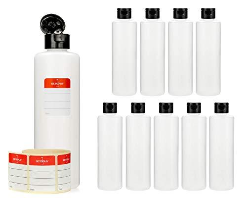 10 botellas de plástico de Octopus de 250 ml, botellas de plástico de HDPE con tapones abatibles negros, botellas vacías con tapa abatible negra, botellas redondas con 10 etiquetas para marcar