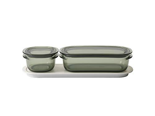 ライクイット (like-it) キッチン収納 調理ができる 保存容器 Sサイズ1個 グリーン + Mサイズ1個 グリーン トレーM ホワイト FC-035 冷凍保存可 食器洗い乾燥機可