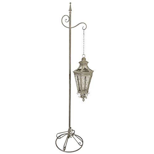 L'Héritier Du Temps Grote lantaarn, zeshoekig, op voet, lamp, kaarshouder, met ketting, binnenverlichting, buiten, ijzer, grijs, 37 x 37 x 175 cm