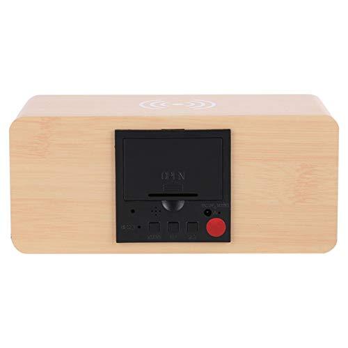 Cosiki Reloj de Madera LED, 3 Grupos de Despertador de Madera con Alarma, Regalo para la Sala de Estar de la Oficina en casa(Bamboo Red Letter)