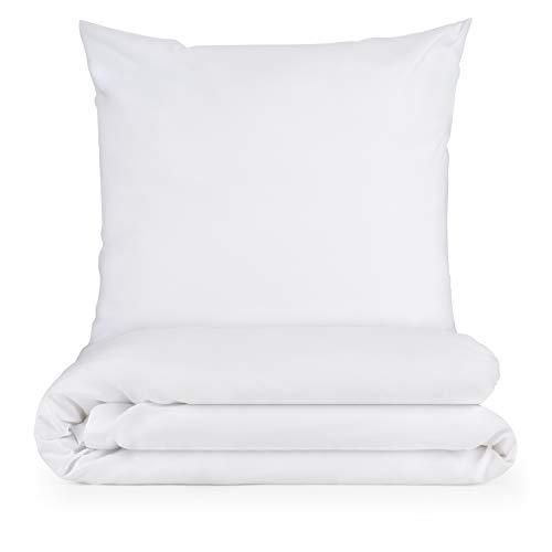 Blumtal Mikrofaser Bettwäsche 135x200 cm + Kissenbezug 80x80 cm - Superweiches Bettbezug Set, 2 teilig, Weiß