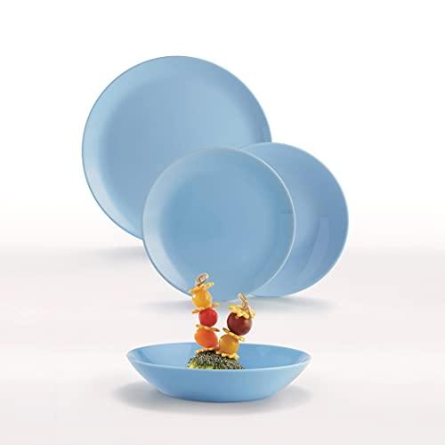 Dajar 00443 Tafelservice Hartglasgeschirr Geschirrset Tafelset Essservice Geschirr Diwali Light Blue 18 TLG. Geschenk glatt stapelbar modern Spülmaschinen Mikrowellen geeignet LUMINARC, Glas