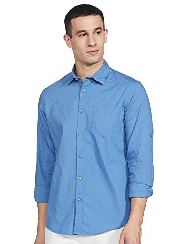 Amazon Brand – Symbol Men's Regular Fit Casual Shirt, 2XL, Angel Blue