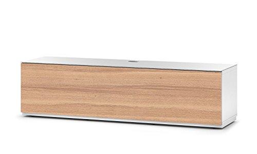 Sonorous STA 160F-WHT-OAK-BS stehende TV-Lowboard mit versteckten Rollen, weißer Korpus, obere Fläche, gehärtetem Weißglas und Klapptür in Holzdekor Eiche