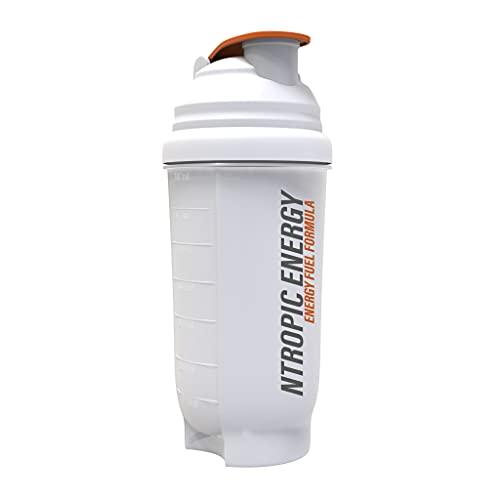 NTROPIC ENERGY - Protein Shaker Bottle - Translucent White & Orange - 700ml - Mesh Mixing Technology
