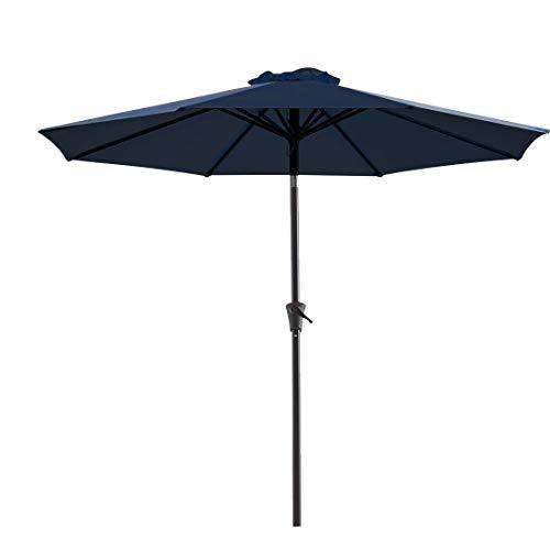 WUFF Bluu 10ft Patio Umbrella Outdoor Market Table Umbrella with Push Button Tilt and Crank(Navy Blue)