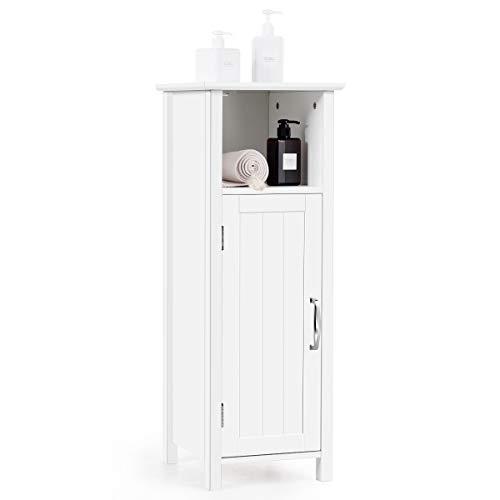 GIANTEX Badschrank schmal, Badezimmerschrank Badregal mit Einer Tür, höhenverstellbare Ablage, Badmöbel aus Holz, 30x30x80cm, weiß