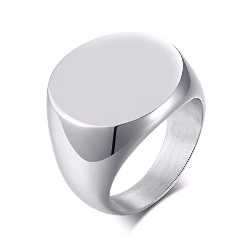 RNXRB Mens Stainless Steel Round Signet Ring For Men Pinky Band Stainless Steel Male Jewelry Wedding Accessories rings 9