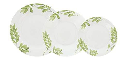 Quid Senda Vajilla de porcelana para 6 personas, 18 piezas, Blanca con ala decorada,