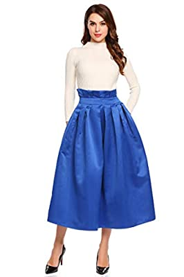 Women Elegant Pleated High Waist Solid Party Bubble Midi Skirt