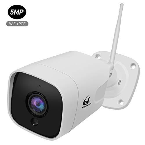 5.0 megapíxeles 1920P H.265 Vitorcam Bullet IP Camera, Audio bidireccional, IP65 Impermeable al Aire Libre, Alerta por Correo electrónico de detección de Movimiento, Soporte PoE + Modo WiFi.