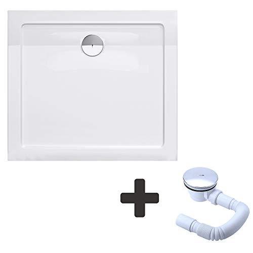 Sogood Duschtasse Duschwanne Faro2W 75x80x4 flach inkl. Ablaufgarnitur aus Acryl in Weiß Rechteckig DIN-Anschlüsse für bodenebene Montage geeignet