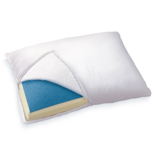 Sleep Innovations Reversible Cooling Gel Memory Foam & Memory Foam Pillow with Hypoallergenic Cover,...
