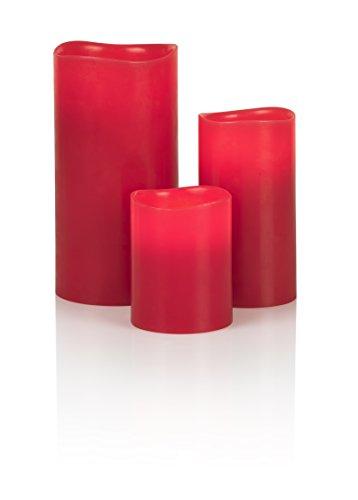 Liown 14937 Bougie LED en cire véritable Batterie non incluse Rouge L