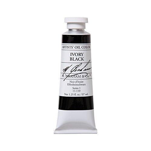 M. Graham Artist Oil Paint Ivory Black 1.25oz/37ml Tube