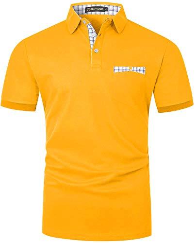 GHYUGR Polos Manga Corta Hombre con Bolsillo Real de Costura a Rayas Camiseta Verano Golf Tennis T-Shirt Trabajo Camisas (L, Amarillo)