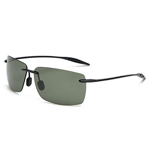 hqpaper Gafas de sol para hombre Gafas de sol polarizadas sin montura Gafas de sol para conducir Gafas de sol para pesca al aire libre-Negro brillante_ Verde oscuro polarizado